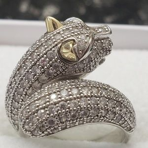 Jewelry - Panther sterling silver ring with gold ears